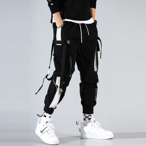 Cargo Pants Joggers Men Black Harem Pants Multi-pocket Ribbons Man Sweatpants Streetwear Casual Pants Elastic waist Male Trouser
