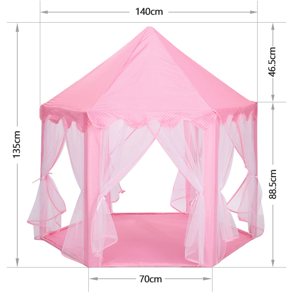 Girls Princess Pink Tents Castle Children Outside Garden Fold Tent Balls Pool Cubby Play House Portable Kids Toys Play Tents