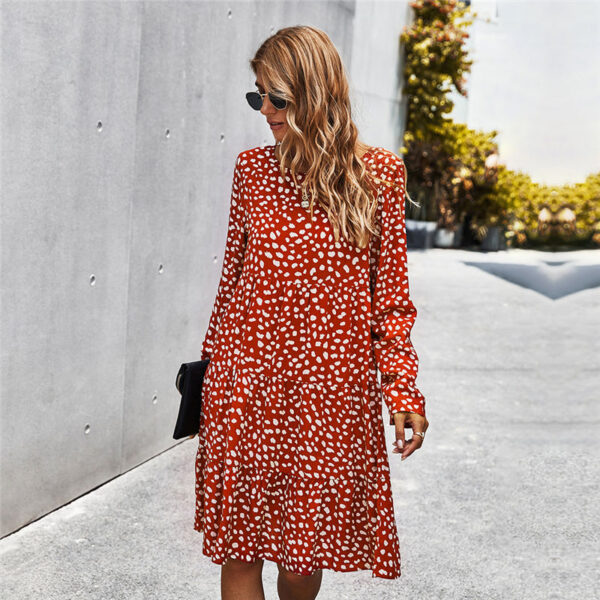 Autumn Winter Temperament Print Dress Women Casual Button A Line Loose Knee Length Dress For Women 2020 New Fashion