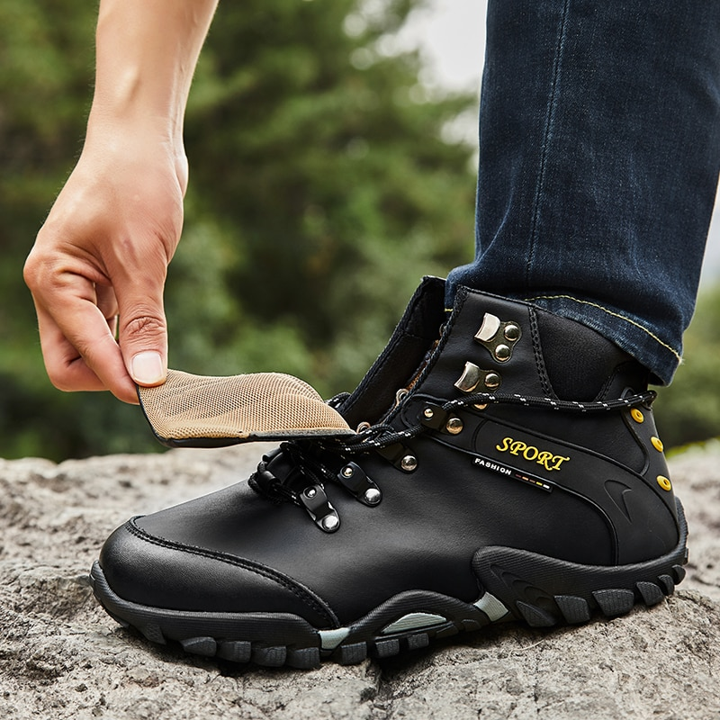 2021 Outdoor Waterproof Hiking Boots Men Summer Lace Up Rain Boots Trekking Mountain Shoes Walking Motomotorcycle Ankle Boots