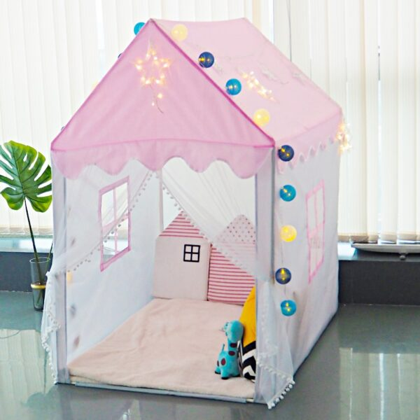 1.45M Portable Children's Tent Wigwam Folding Kids Tents Tipi Baby Play House Large Girls Pink Princess Castle Child Room Decor
