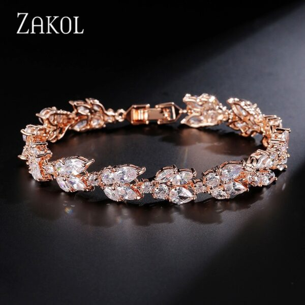 ZAKOL High Quality Clear White Cubic Zirconia Leaf Pattern Bracelets Bangles For Women Girl Gift Fashion Wedding Jewelry FSBP001