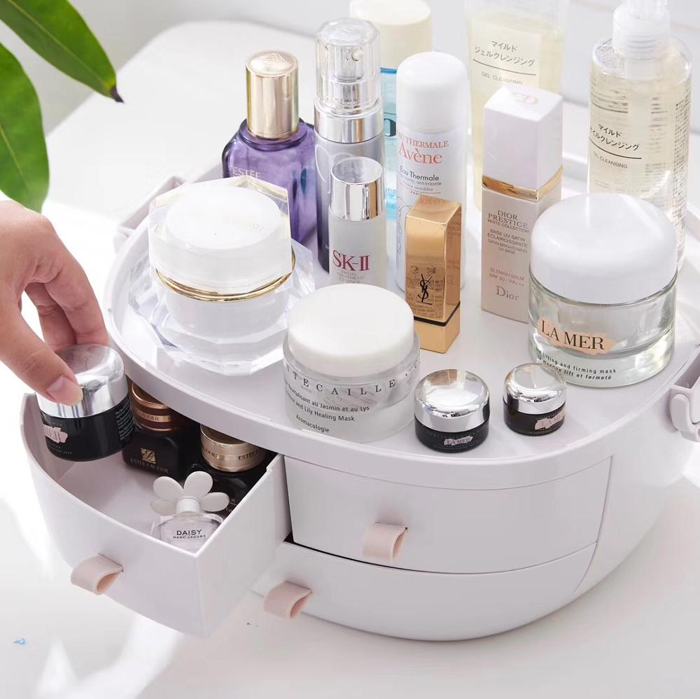 JULY'S SONG Plastic Makeup Storage Box Portable Cosmetic Organizer Large Make Up Container Bathroom Storage Case Desktop Sundry