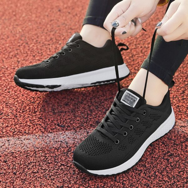 Plus Size 42 Womens Shoes Dense Mesh Woven Woman Sneakers Lace-Up PU Solid Shallow Fabric Black Shoes Sneakers Fall 2020 Women