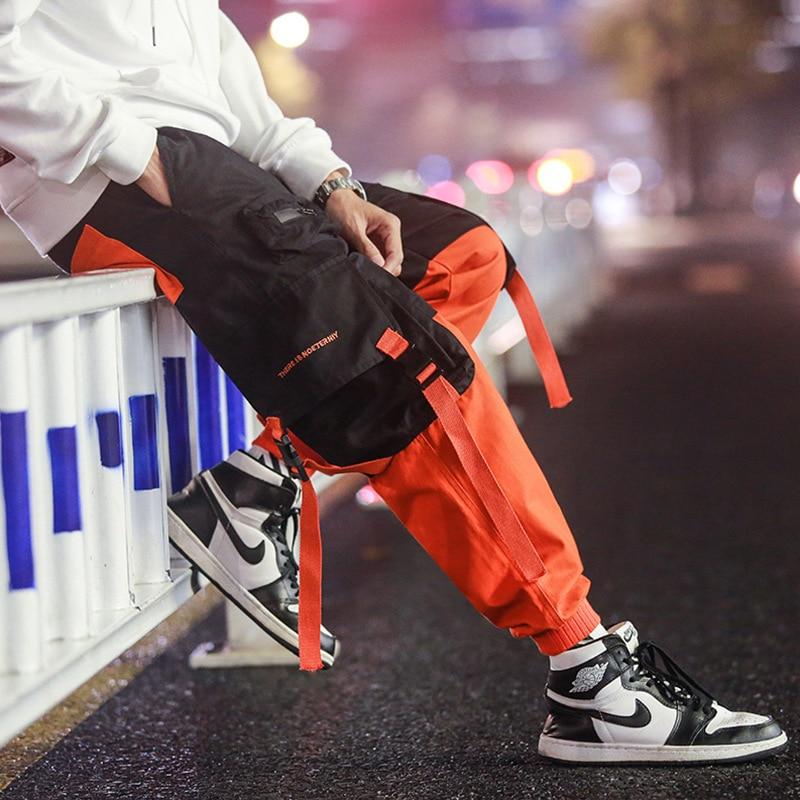 Cargo Pants Joggers Men Black Harem Pants Multi-pocket Ribbons Man Sweatpants Streetwear Casual Pants Elastic waist Male Trouser