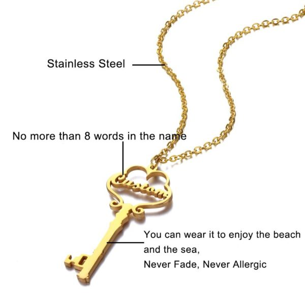 Custom Name Necklace & Pendant Stainless Steel Personalized Key Pendants Charms Choker For Women Nameplate Initial Jewelry Gifts