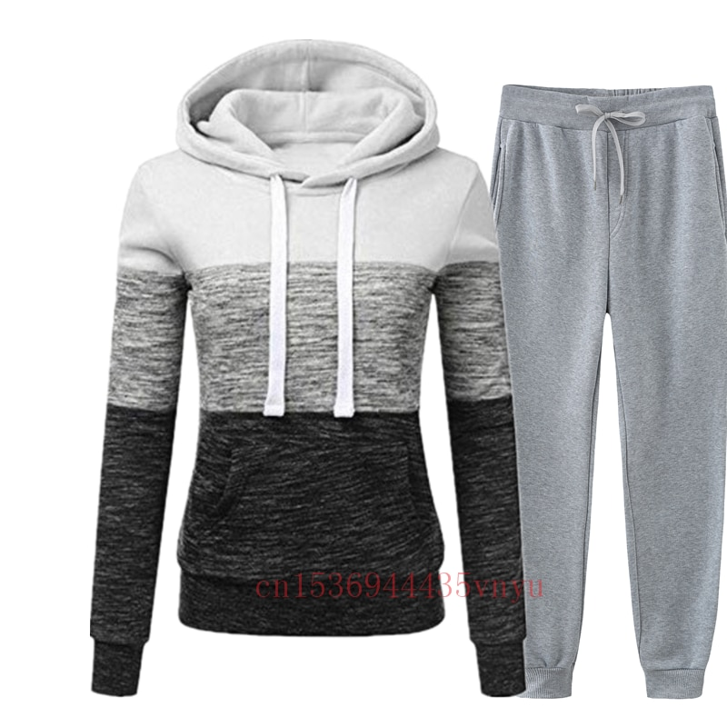 Winter Tracksuit Women 2 Piece Set Print Hoodies+pants Sportwear Women's Sports Suit Hooded Sweatshirt Set Female Winter Clothes