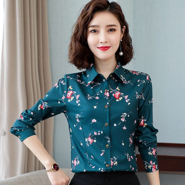 Korean Women Shirts Chiffon Blouses for Women Long Sleeve Shirt Office Lady Print Shirts Tops Plus Size Woman Floral Blouse XXXL