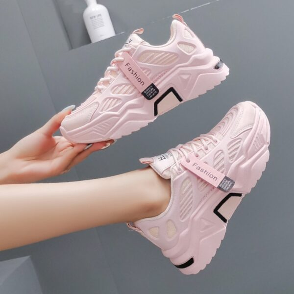 Women Platform Sneakers Chunky Brand Designers Woman Casual Old Dad Shoes Basket Female Sports Mesh Lace Up Vulcanized Shoes 5cm