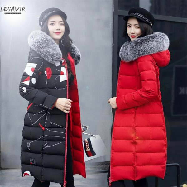 2020 New Women Parkas Winter Jacket Fur Collar Hooded Overcoat Doubble-side Jacket Warm Thicken Cotton Padded Parka Long Coat
