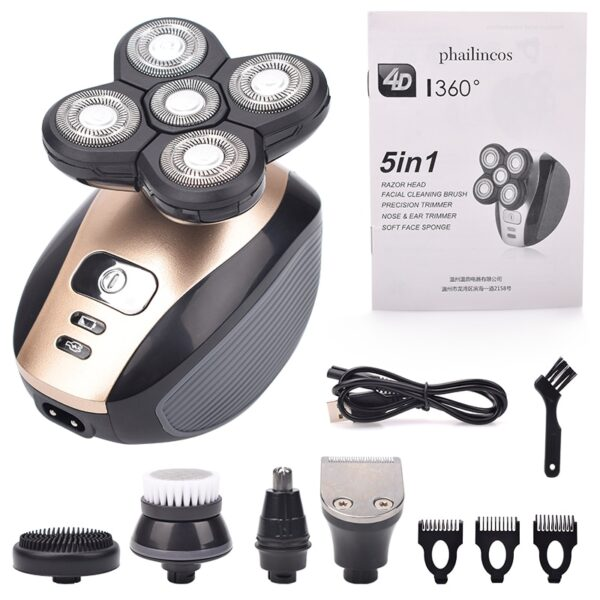 5 In 1 4D Men's Rechargeable Bald Head Electric Shaver 5 Floating Heads Beard Nose Ear Hair Trimmer Razor Clipper Facial Brush