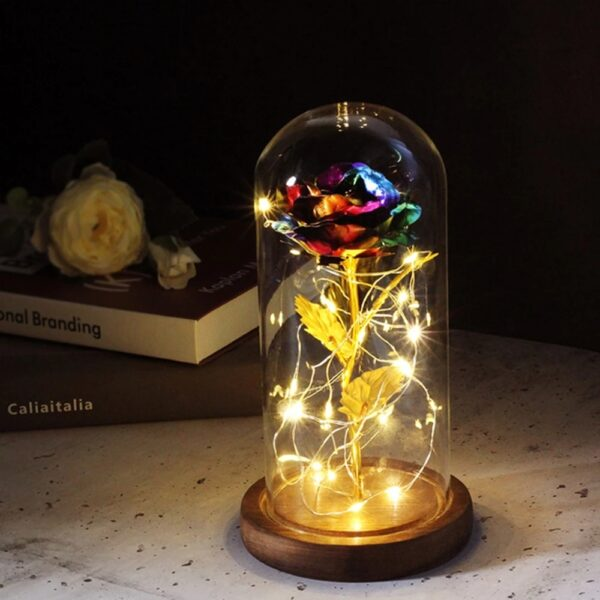 Eternal Rose Flower The Beauty And Beast Rose In A Glass Dome LED Lamps Home Decor Wedding Christmas Valentines Day New Yea Gift